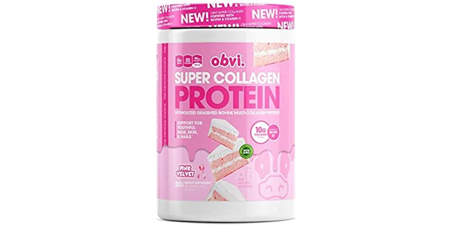 Obvi Multi-Collagen Super Protein Powder (Pink Velvet, 14 Oz) | Keto-Friendly, Gluten and Dairy Free | Hydrolyzed Grass-Fed Bovine Collagen Peptides | Supports Gut Health, Healthy Hair, Skin | WOOT
