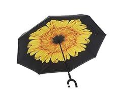 Reverse Opening Umbrella, Black/Yellow Flower