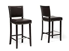 Aries Bar Stool w/Nail Head Trim Set/2