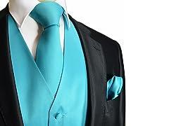 CKL Men's Solid Vest, Neck Tie, & Pocket Square Set
