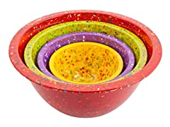 Confetti Bowl Set - Assorted Red - S/4
