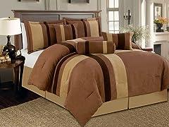 Reham 7pc Comforter Set - Brown - 2 Sizes