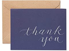 50 Count Thank You Cards, Blue & Brown