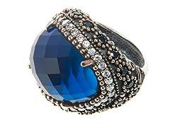 SS Oval Dyed Sapphire Genuine Semi-Precious Gemstone CZ Ring