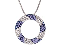 Stainless Steel Circle Pendant w/ Tanzanite & Swarovski Elements