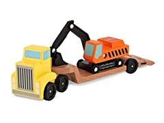 Trailer and Excavator Wooden Vehicle Set