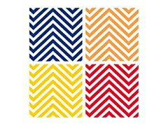 Bright Color Chevron Coasters- Set of 4