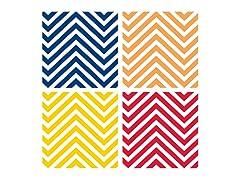 Bright Color Chevron Coasters- Set of 4