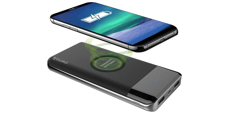 Aduro 10,000mAh Qi-Certified Wireless Power Bank with Dual USB Charging Ports | WOOT
