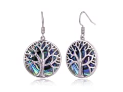 18k Gold Plated Abalone Tree of Life Earrings