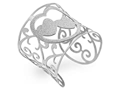 Stainless Steel Adjustable Heart Bangle