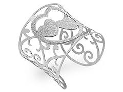 Stainless Steel Adjustable Heart Bangle