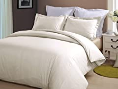 Hotel Peninsula Duvet Set-Ivory-2 Sizes
