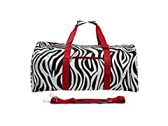 World Traveler 22 Inch Duffle Bag, Red Trim Zebra, One Size