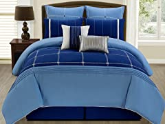 8-Pc Jakson Comforter Set- Blue (Multiple Sizes)