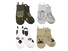 4-Pk Socks - Bear & Friends (S-M)