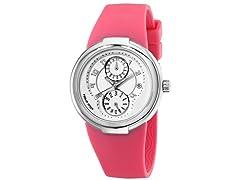 Women's White Dial / Pink Rubber Strap Watch