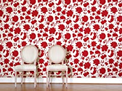 Flower Toile Red Tiles