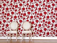 Flower Toile Red Tiles