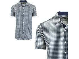 Mens Short Sleeve Gingham Dress Shirt