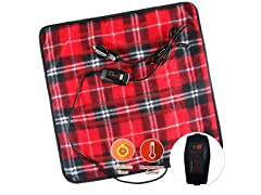Zone Tech Red Plaid Heating Pad w Remote