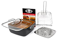 "Titanium & Ceramic Nonstick 9.5"" Deep Square Pan 4pc Set"