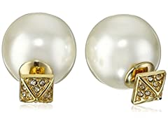 Rebecca Minkoff Gold Two Part Pearl Ball Earrings