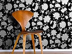 Floral Toile Black Tiles