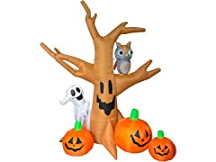 8' Haunted Tree with Pumpkins, Ghost, and Owl Inflatable