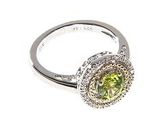 Silver & 14k Gold Peridot Ring