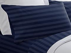 300TC Egyptian Cotton Sheet Set-Navy-5 Sizes