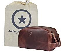 Leather Toiletry Travel Pouch with Waterproof Lining