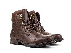 Harrison Cap Toe Combat Boots w/Zipper