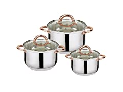 6-Piece Stainless Steel Casserole Set