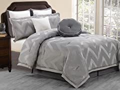 Behrakis 8Pc Comforter Set-Grey-2 Sizes