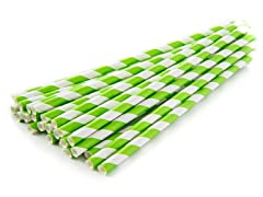 Sip Sip Hooray Paper Straws - Lime/Wht, 100ct