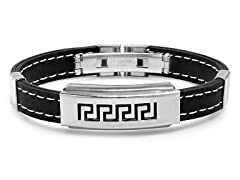Black Rubber Bracelet w/ Greek Accent