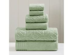 6-Piece Yarn Dyed Diamond Gate Jacquard Towel Set