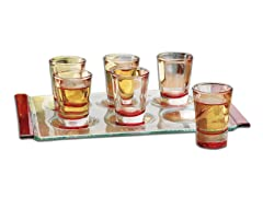 1.25oz Red Party Shot Glasses with Tray