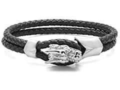 Men's Braided Black Leather Bracelet