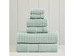 6-Piece Yarn Dyed Cobblestone Jacquard Towel Set