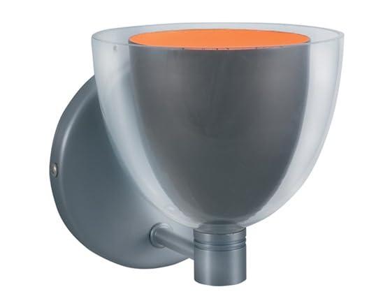 Lina 1-Light Gun Metal/Orange Clear Glass Wall Sconce