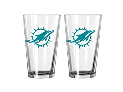 Boelter Miami Dolphins Pint Glasses 2-Pack
