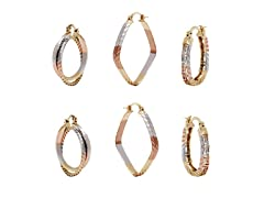 Three Tone Set of 3 Hoop Earrings