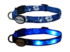 Dog-e-Glow Blue Hawaii LED Lighted Collar-Medium