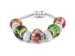 Crystal and Murano Bead Bracelet