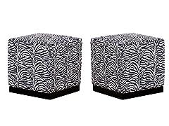 Zebra Safari Cube Ottoman Set of 2
