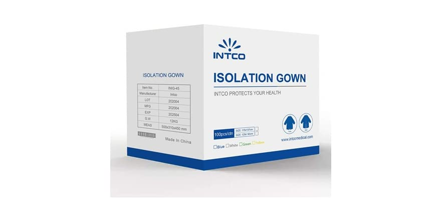 Intco Level 3 Disposable Isolation Gowns, Random Color (Pack of 100) | WOOT