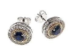 Silver & 14k Gold Sapphire Earrings