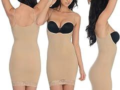 Lace Trim Braless Dress Shaper, Nude